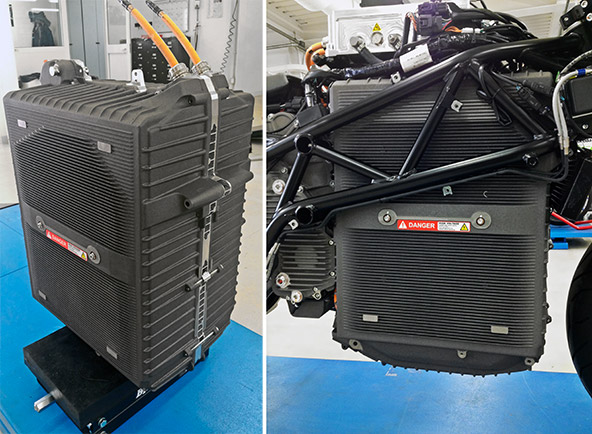 Left: Energica Ego battery pack ready to be mounted - Right: Battery pack mounted (detail)