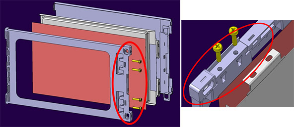 Left: Exploded view of pouch casing with pouch cell and cooling system. Circled in red, the area most affected by heat increase. The area must stay stiff; Right: Detail of the area of the pouch casing most affected by heat increase