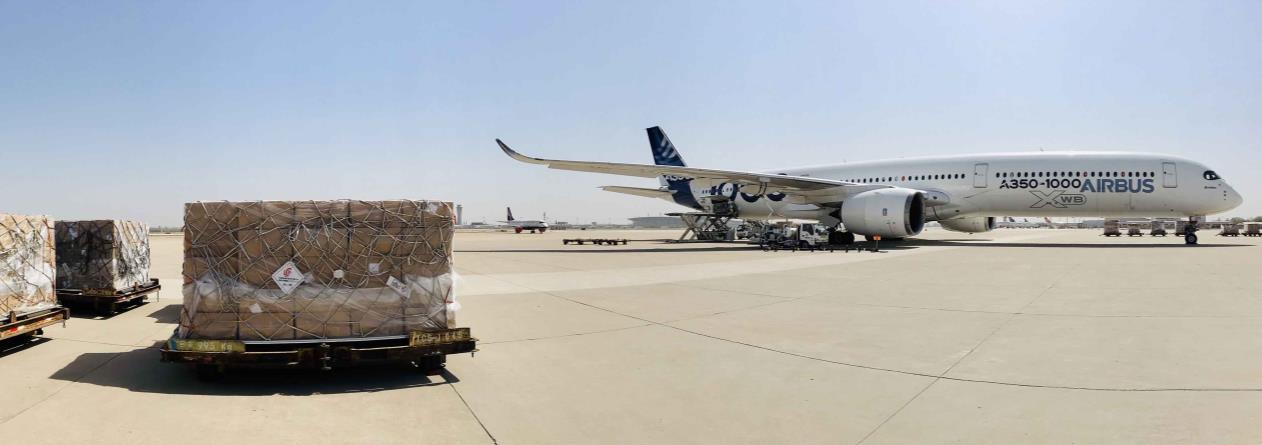 Photo caption: A350-1000 at loading masks in Tianjin, China