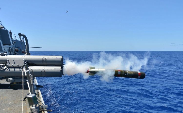 MK-54 torpedo being launched from an Arleigh Burke-class destroyer (photo courtesy U.S. Navy)