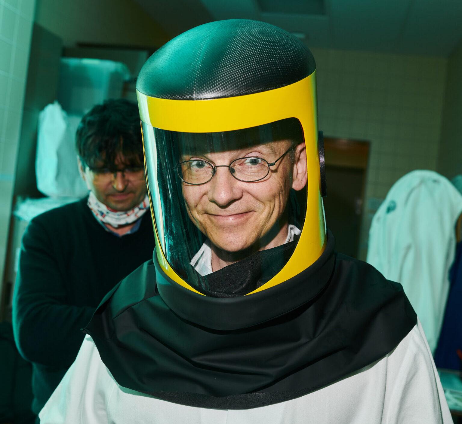 A composite medical protective helmet