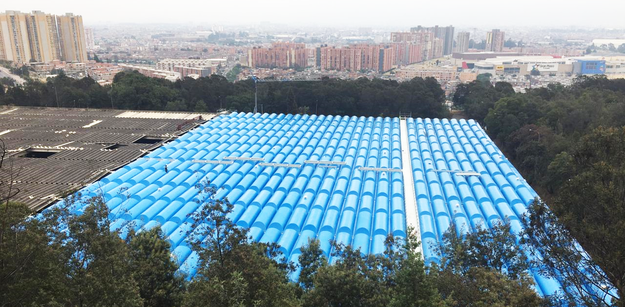 Aerial view of the completed phase 1 project to develop water storage tanks for Bogota Water Utility