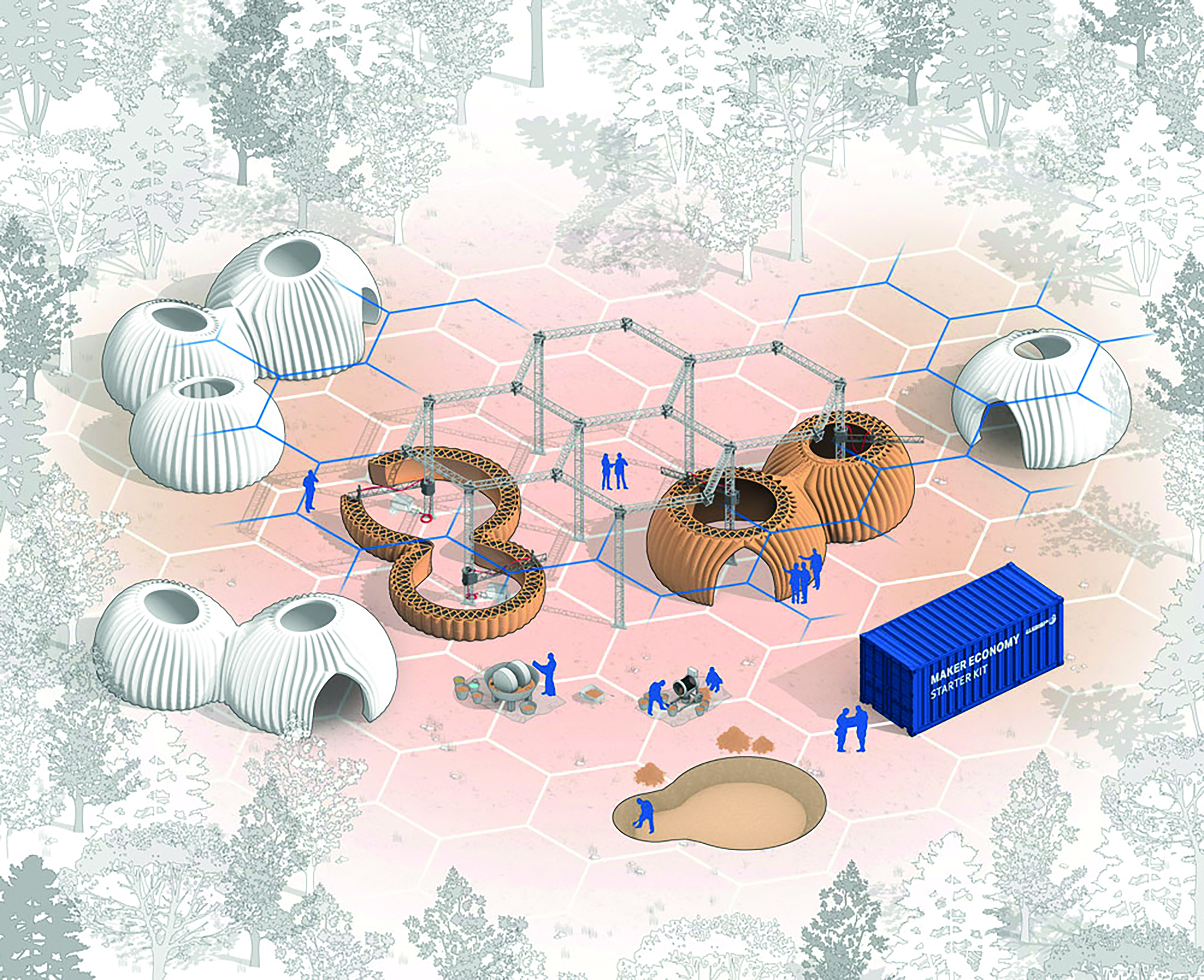 Tecla is the first habitat built using multiple Crane WASP collaborative printers simultaneously