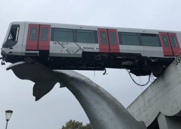 Composite whale tail sculpture saves runaway metro train in Rotterdam
