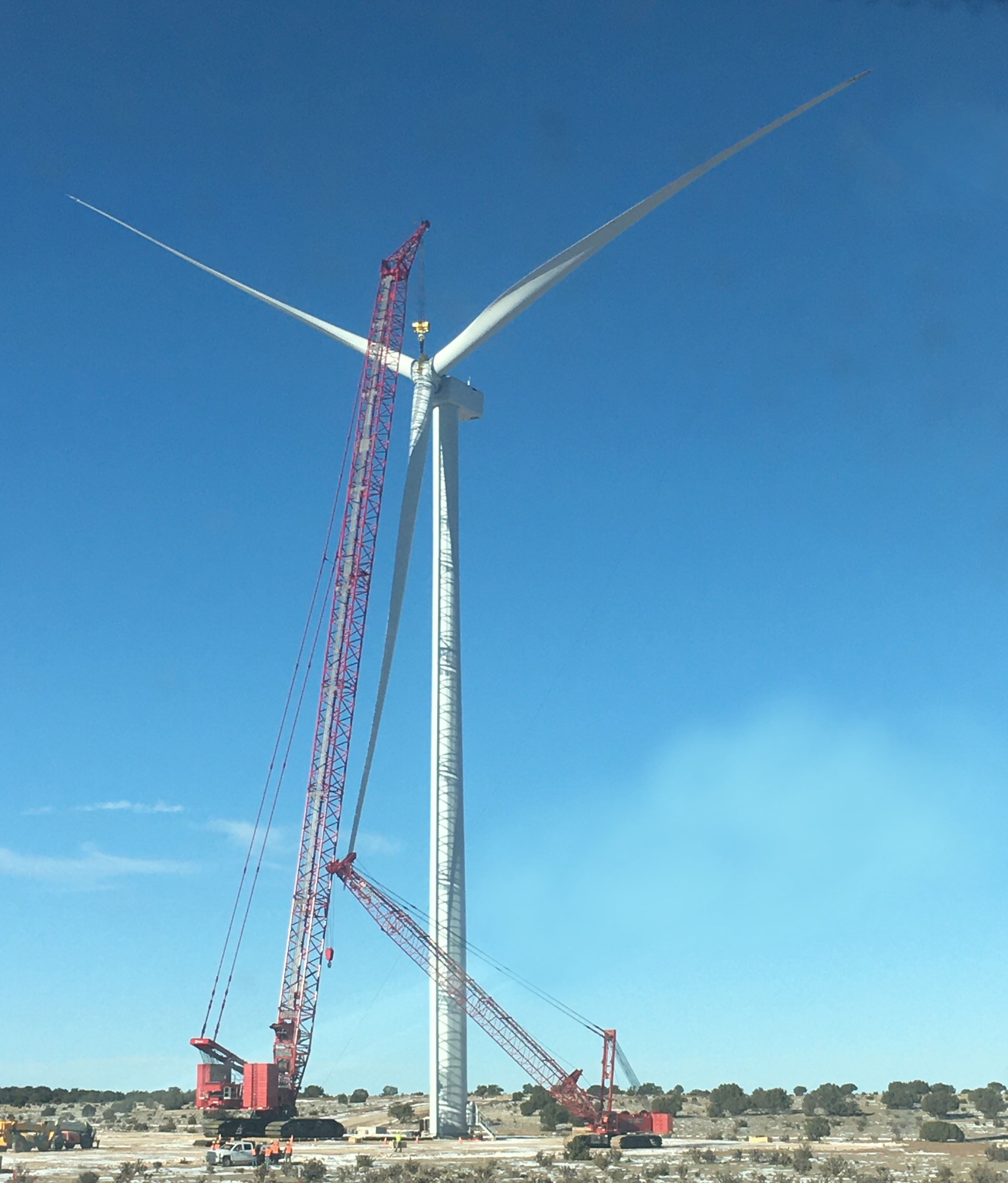 First GE 2 MW turbine at Western Spirit Wind (Pattern Energy)