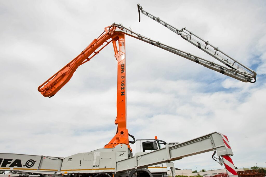 Concrete pumping truck arms