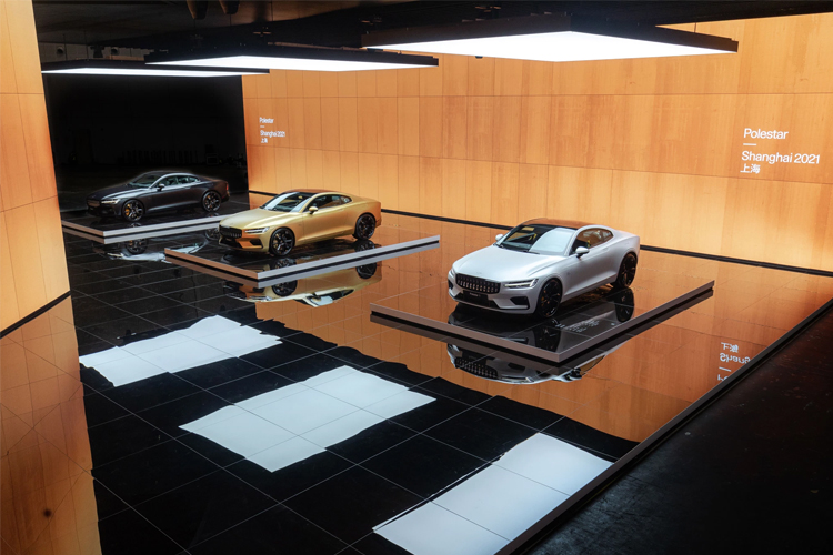 The lineup of Polestar vehicles at the 2021 Shanghai Auto Show. Image Credits: Polestar/Geely Holdings
