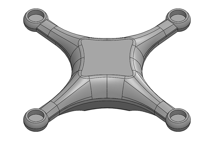 Initial shape model used for the analysis. The centre is flat to accommodate a GPS receiver antenna.