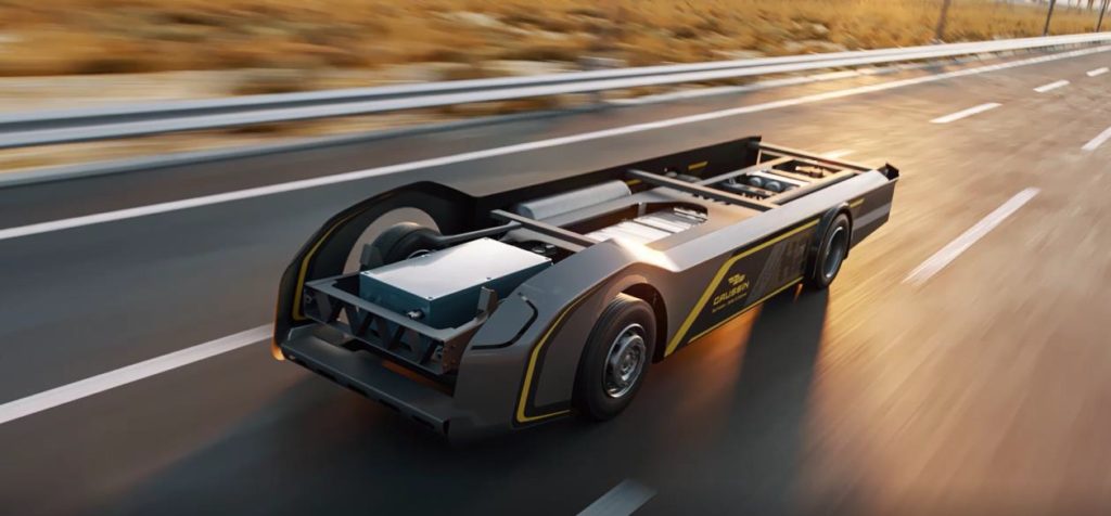 The skateboard contains the key components and systems to produce next-generation road trucks, including an ultra-light chassis developed by Magna that weighs 400 kg less than other chassis on the market, as well as hydrogen tanks, fuel cells, electric motors, drives, axles and suspensions.