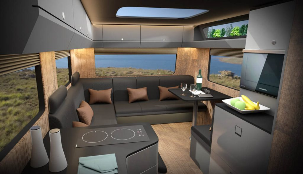 A layer of carbon fiber on the interior further strengthens the camper.