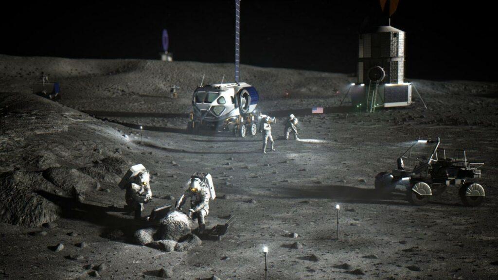 Illustration of NASA astronauts on the lunar South Pole. Credit: NASA
