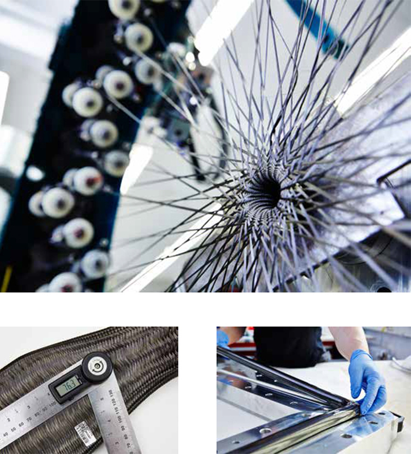 Top: Robot-assisted braiding of the Krypton carbon frame tubes / Left: In-process quality audit / Right: Carbon tube finishing