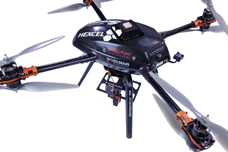 The composite drone was developed by a team of students from the University of Applied Sciences Upper Austria in Wels with composite materials supplied by Hexcel Neumarkt in Austria.