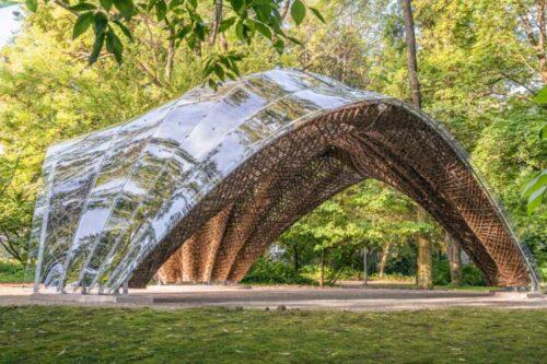 livMats constructed a biomimetic Pavilion in the Botanic Garden Freiburg