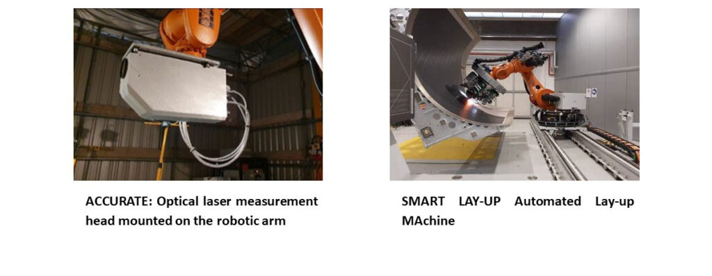 Left: ACCURATE: Optical laser measurement head mounted on the robotic arm – right: SMART LAY-UP Automated Lay-up MAchine