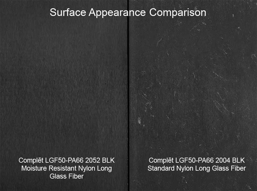 Avient's new line of Complēt moisture resistant nylons with long fiber reinforcement feature enhanced surface aesthetics that are virtually free of visible fiber to aid in improving consumers' quality perceptions of molded articles.
