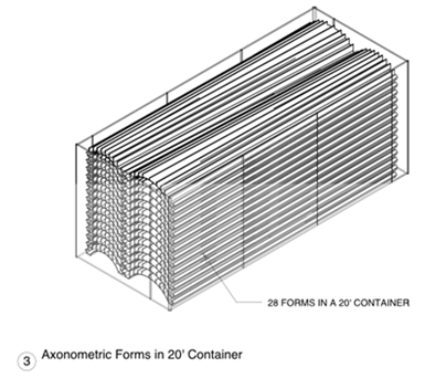 This drawing shows 28 trapezoidal shapes neatly stacked in a container.