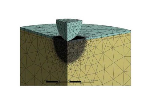 Coating/substrate structure under a nanoindentation tip to measure the mechanical response of the component.