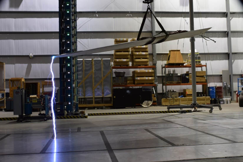 Lightning strike.  Researchers used a lightning simulation technique to see where lightning might strike the blade and found that, typically, electricity hit the tip of the blade or one of the edges—but not inside the blade or welded seams where it could cause excessive damage. Photo by NREL