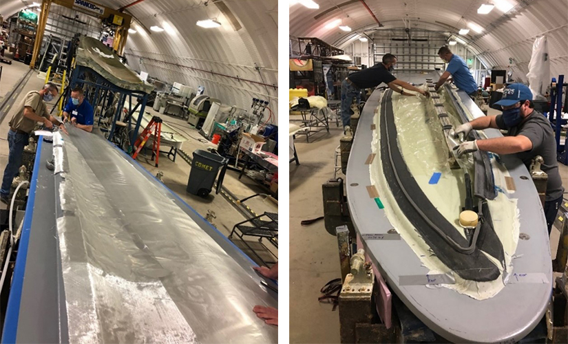 Lightning protection. To build a lightning shield for their innovative wind turbine blade design, the research team added an expanded aluminum foil layer (left) and a carbon-fiber heating element at the bond lines (right) to enable thermal welding of the blade parts. Photos by NREL