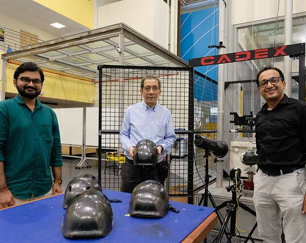 Tough bicycle helmet made from thermoplastics composite materials