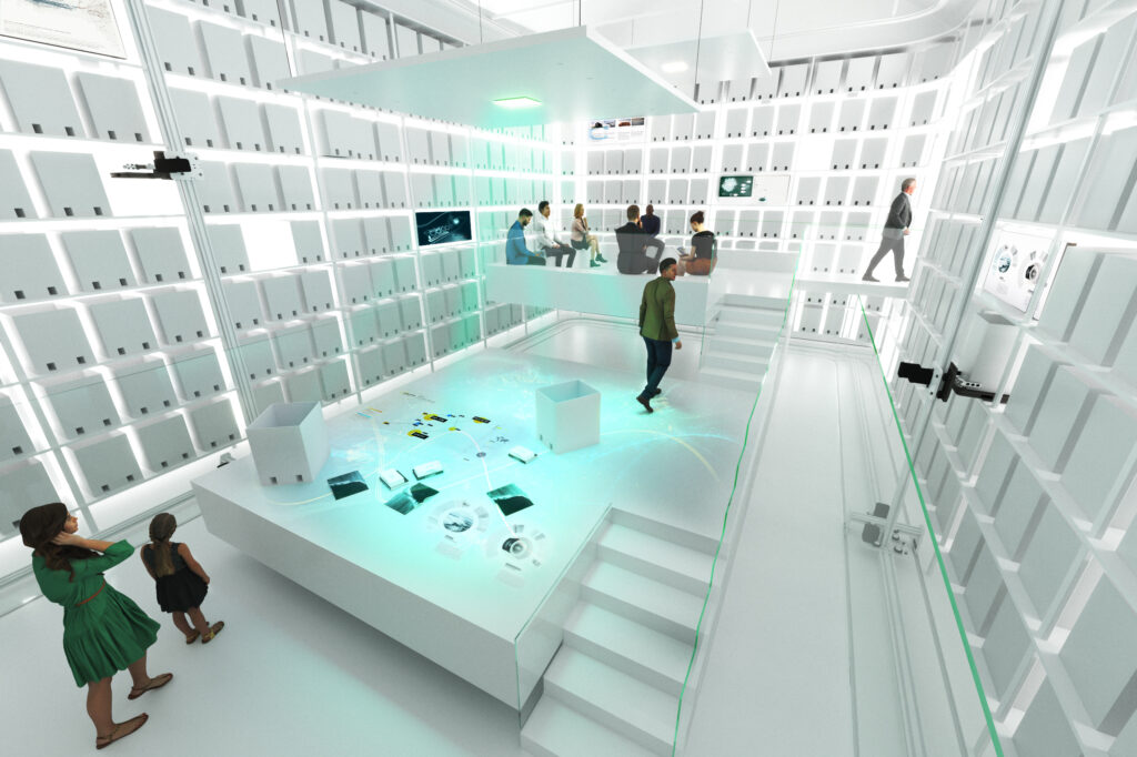 The exhibition path will employ robotics to guide visitors through the world's largest archive of acrylic fiber technologies, documenting scientific advancements in the development of carbon fiber