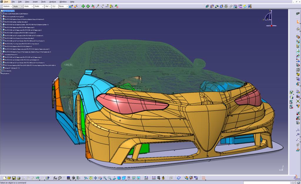 Giulia ETCR: the CAD model of the bodywork