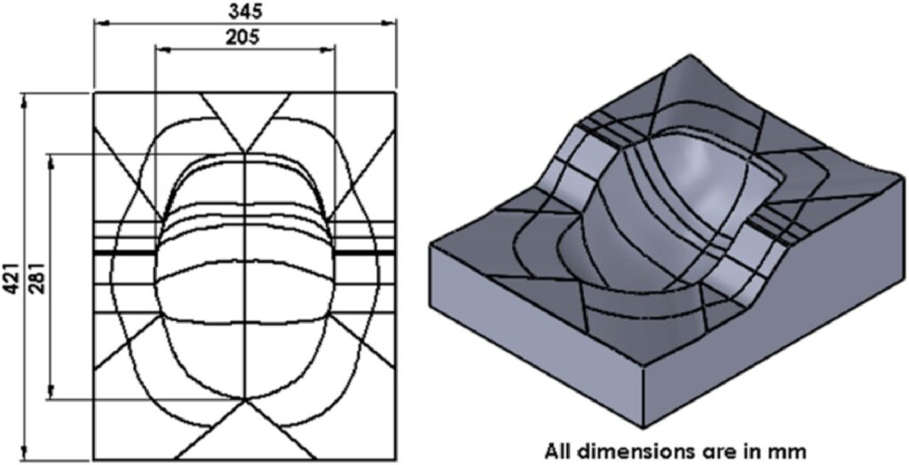 CAD model and 3D isometric view of the helmet mould.
