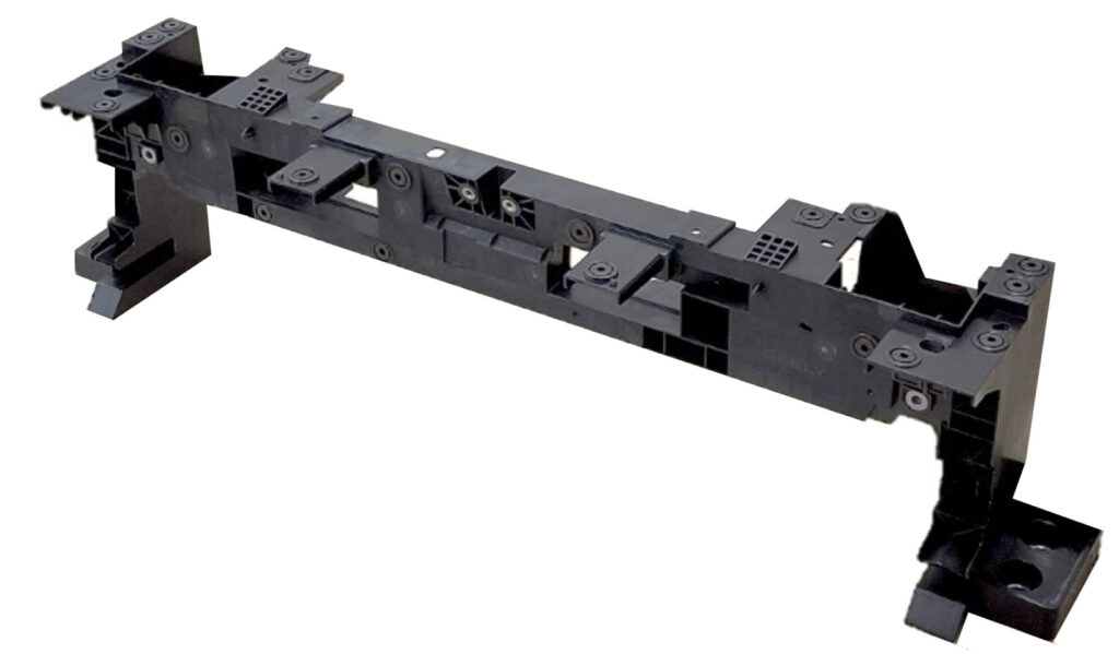 Smart designed frond end carrier made from the Durethan BKV50H2.0 EF polyamide 6 compound is part of latest-generation automatic structural parts from various carmakers. Photo: LANXESS