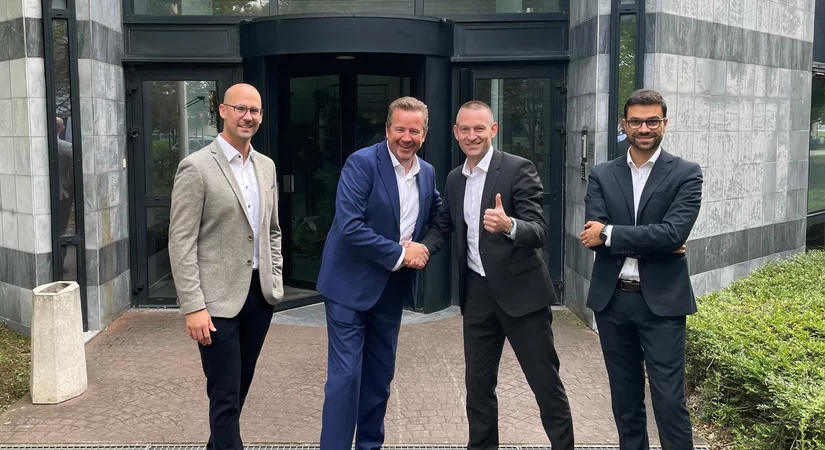 From left to right: Benjamin Albrecht: Head of Area Manager Service West Europe/Africa Christophe Longuet: President KraussMaffei Group France Tobias Daniel: Vice President Sales New Machines, Chairman Board of Directors KraussMaffei France Davide Pagliarulo: Sales Director West Europe New Machines